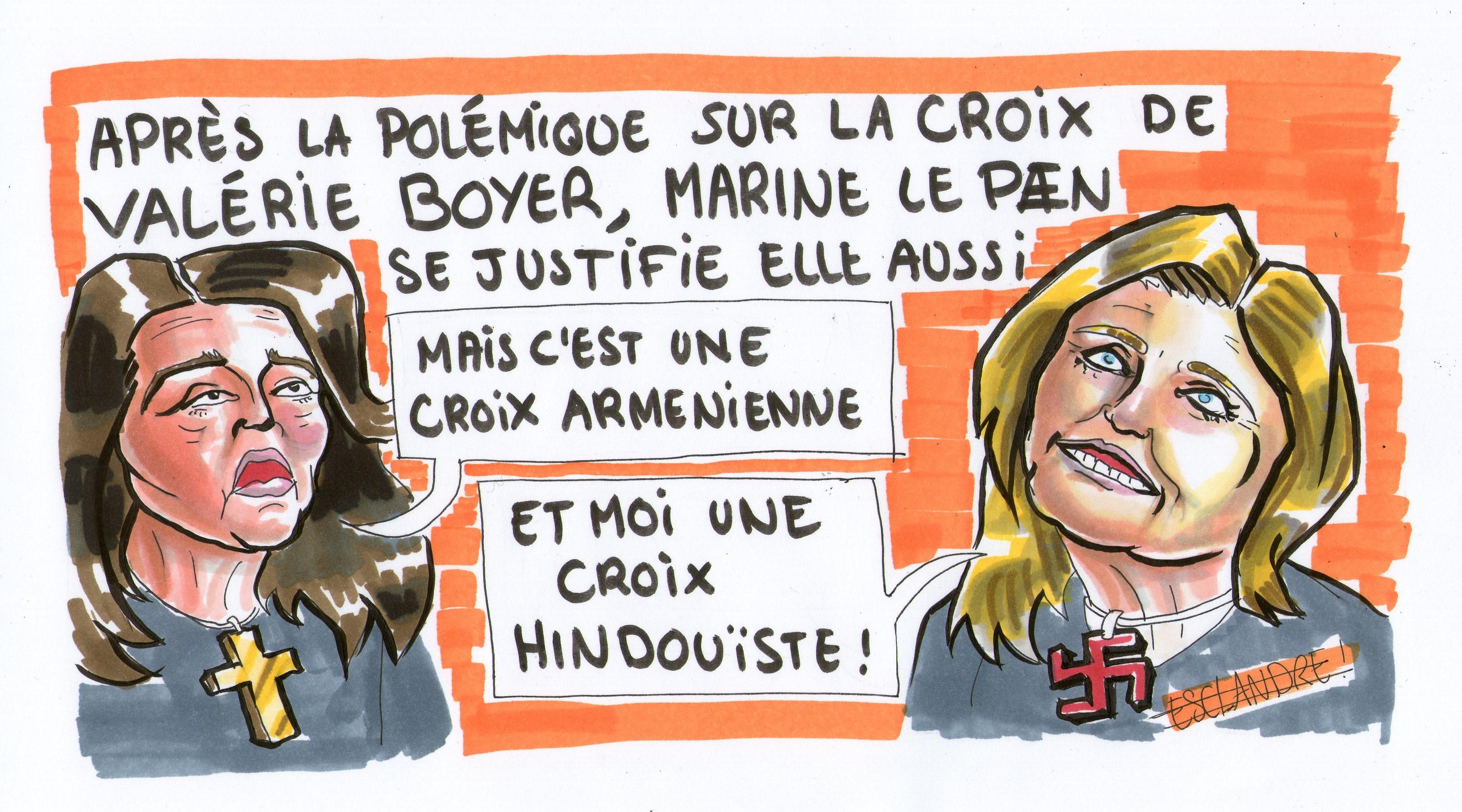 Valérie Boyer, Marine le Pen : les croix font polémique