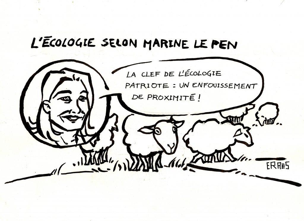 Grâce à Marine le Pen et son programme politique sur les questions d'écologie, les moutons auront désormais un meilleur rendement : 6 gigots par tête, qui dit mieux ? L' écologie patriote : l'enfouissement nucléaire de proximité