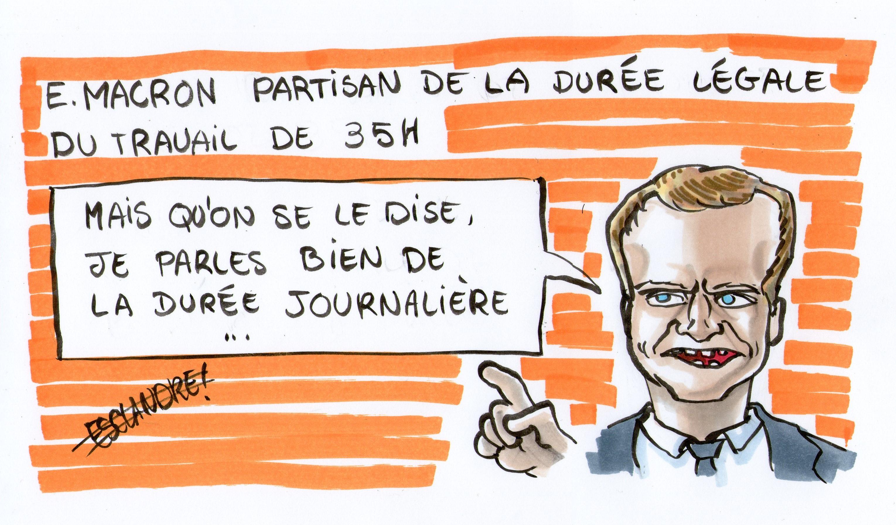 Macron, partisan des 35h ? Oui, mais par jour !