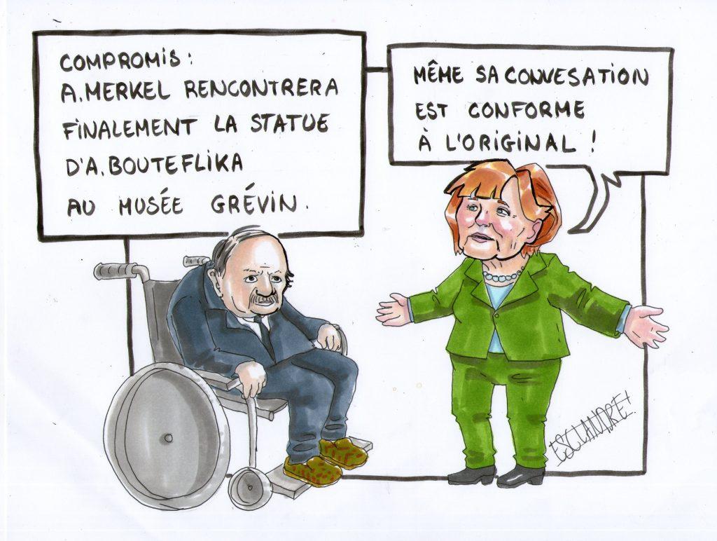 Merkel rencontre finalement la statue de Bouteflika au musée Grévin