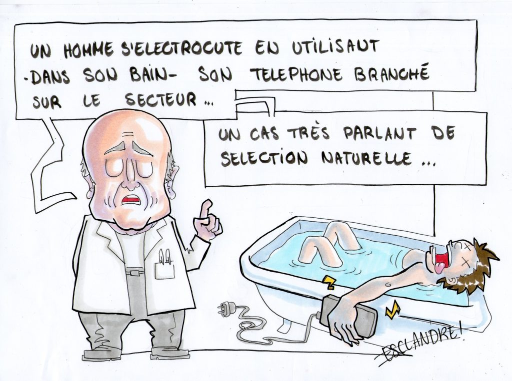 Sélection naturelle : un homme s'électrocute dans son bain avec son téléphone portable